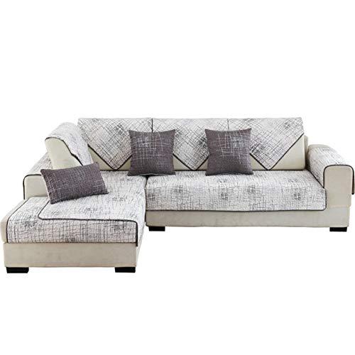 JIAGU Funda de sofá antideslizante y resistente a las arrugas, de sarga de algodón, estampado de graffiti, funda de sofá acolchada para mascotas, juego de almohada (color: blanco, tamaño: 90 x 240 cm)