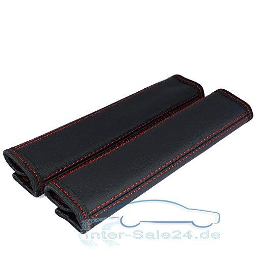 L & P Car Design GmbH 2 stuks riembeschermers riembekleding schouderkussen echt leer echt leer schouderbeschermers beschermer kussen riem schouder 2 stuks zwart met rode naad