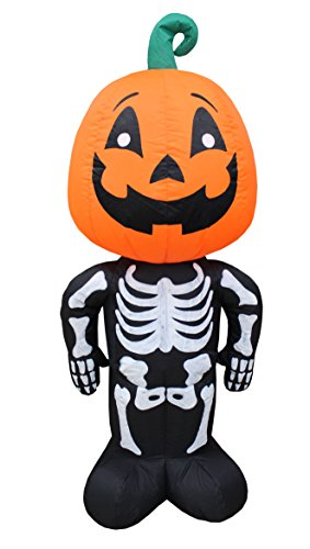 BZB Goods 4 Foot Tall Halloween Inflatable Pumpkin Head Man Blow Up LED Lights Decor Outdoor Indoor Holiday Decorations, Blow up Lighted Yard Lawn Decor Home Family Outside