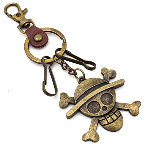 Gydthdeix 1 Pcs Cool Personalized Cartoon Anime One Piece Pirate Alloy Luffy Keychain Skull Hat Bronze Fittings Key Chains Toy Gift Fashion Ornaments Coin Purse Car Keyring Bag Buckle Phone Pendant