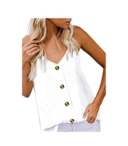 Fannyfuny Damen V-Ausschnitt mit Knopf Ärmelloses Sling Weste Tee Frau Lose Oversize Sport Weste top Casual Elegant Blusen Oberteil Sport T-Shirt S-XL