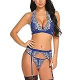 LSSM Sexy Dessous Zweifarbige Spitze Sexy Versuchung Sexy Pyjama V-Ausschnitt RüCkenfrei Nachtclub Bekleidung Sexy Dessous UnterwäSche Nachthemd ReizwäSche Obsessive Erotisches Blau XXL