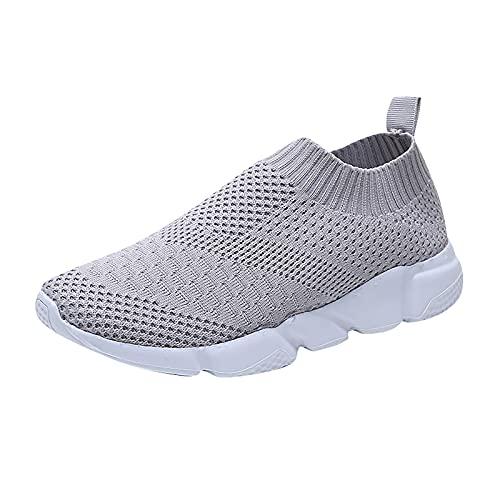 Canifom Damen Slip-On Sportschuhe Atmungsaktiv Turnschuhe Leicht Laufschuhe Einfarbig Freizeitschuhe Stretch-Sneaker
