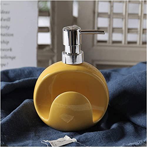 FGDFGDG Dispensador de jabón de cerámica de Botella con Soporte de Esponja 400ml / 13.z Dispensador de jabón de Plato Lindo Dispensador de líquido Lindo Botella de Bomba para el Fregadero,Amarillo