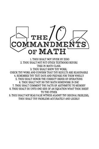 Carnet De Notes: Professeur De Mathématiques De L'école Sarcasme 10 Commandements Cadeaux 120 Pages, 6X9 (Environ A5), Grille À Point