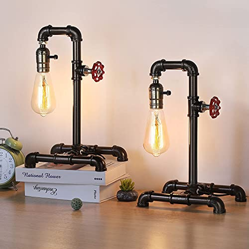 LIANTRAL Retro Vintage Table Lamp, Industrial Loft Style Steampunk Lamp, Iron Pipe Desk Lamp for Bedside, Living Room, Hallway, Café, Store, Set of 2 - Bronze