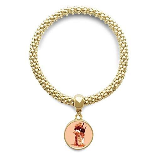 DIYthinker Damen Biscuits Schokolade Flasche EIS Goldene Armband-Laufende hängende Schmuckkette