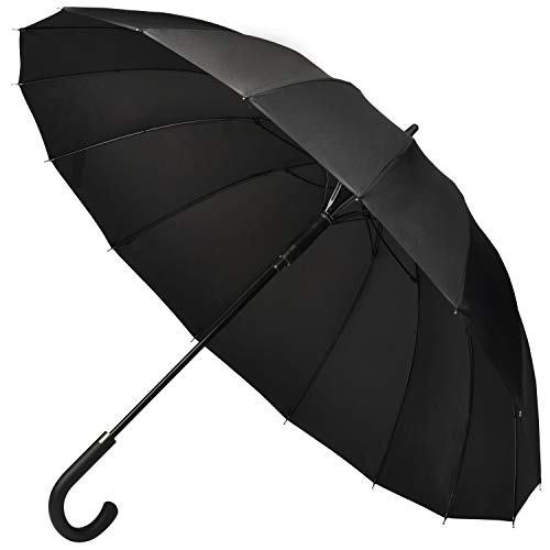 【Amazon限定ブランド】Muslish 傘 メンズ 16本骨 紳士傘 ジャンプ傘 大きい ワンタッチ 丈夫 テフロン加工 超撥水 梅雨対策 収納ポーチ付き1年保証(ブラック)