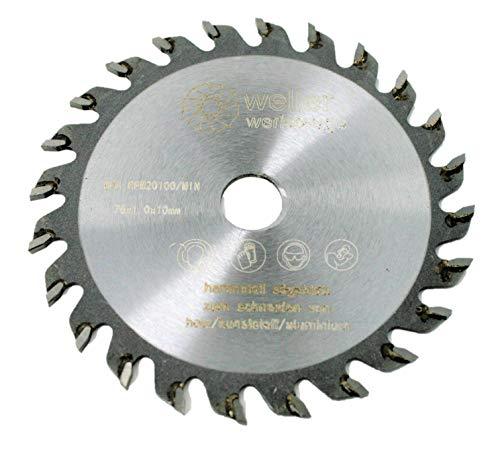 Profi HM Sägeblatt 76x10mm 24 Zähne für holz Kunststoff Aluminium passend für Akku Kreissäge Trennsäge 12V 10,8V