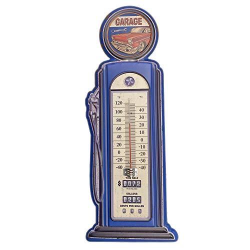 【USA アメリカン デザイン】GARAGE 温度計 GAS STATION ガレージ カフェ レストラン サインボード アンティーク ビンテージ バイカー インテリア 看板 ; AVTM-004