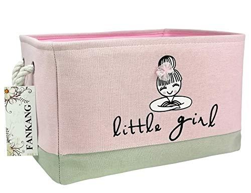 Rectangular Fabric Storage Bin Toy Box Laundry Basket Nursery Storage, Storage Hamper, Book Bag, Animals Storage Toy Boxes, Gift Baskets (Pink Girl)
