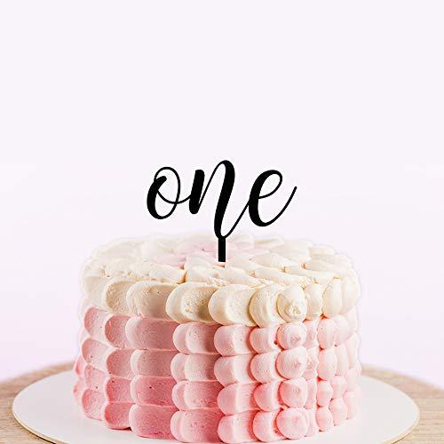 Happy 1 Verjaardag Taart Topper voor Baby Shower,Custom Age Cake Toppers,Silhouette Verjaardag Topper met Kalligrafie, Taart Decoraties