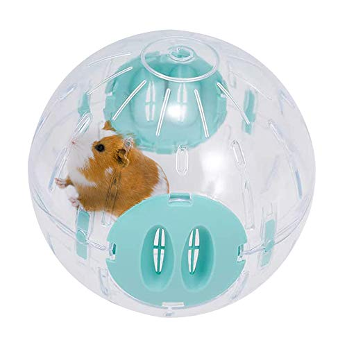 WishLotus Hamster Ball, Running Hamster Wheel 16cm Small Pet Plastic Cute Exercise Ball Golden Silk Shih Tzu Bear Jogging Wheel Toy Relieves Boredom and Increases Activity (Blue 16cm)