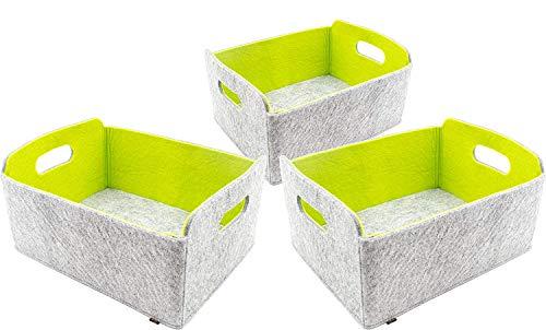 Luxflair 3er Set Faltbarer Aufbewahrungskörbe aus waschbarem Filz Graumeliert/grün, 30x24x15cm. Ordnungsbox, Regalbox, Faltbox, Spielzeugkorb, Filzkorb