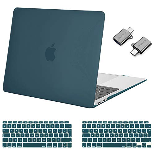 MOSISO MacBook Air 13 inch Case 2020 2019 2018 Release A2337 M1 A2179 A1932, Plastic Hard Shell Case & Keyboard Cover & Type C Adapter 2 Pack Compatible with MacBook Air 13 inch Retina, Deep Teal