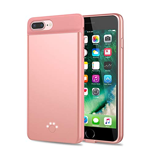 HiKiNS Funda Batería para iPhone 6/6S/7/8 5000mAh Externa Ultra Batería Recargable Power Bank Case Funda Cargador Portatil Batería para iPhone 6/6S/7/8 - Rosegold