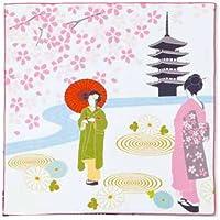 のレン ジャパノラマ 二重 ガーゼハンカチ 47×47cm 日本製 ご当地 アート 綿100% ガーゼ 柔らかい 風呂敷 お弁当包み 舞妓