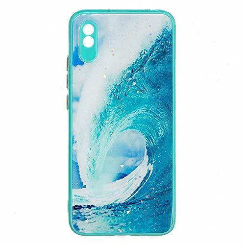 Nadoli Coque pour Xiaomi Redmi 9A,Cristal Clair Bling Pailleté Brillant Vert Vagues Ultra Mince Anti-Chocs Housse Étui de Protection avec Silicone TPU Cadre