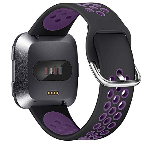 XIMU Bandas Deportivas compatibles con Fitbit Versa/Versa 2/Versa Lite, Silicona Suave, Impermeable, Transpirable, Correa de Repuesto para Reloj Inteligente Versa, S: 5.9'-7.6', Negro/Morado