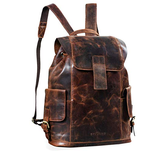 STILORD 'Austin' Rucksack Laptop Leder 13.3 Zoll Frauen Männer Lederrucksack Daypack für DIN A4 Ordner für Schule Uni Arbeit, Farbe:Zamora - braun