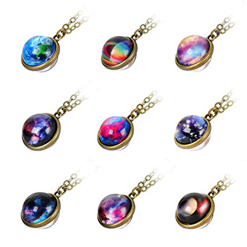 9 Pack Nebula Galaxy Double Sided Pendant Necklace Outer Space Necklace Universe Planet Jewelry Handmade Glass Cabochon Necklace Outer Space Party Favors Supplies