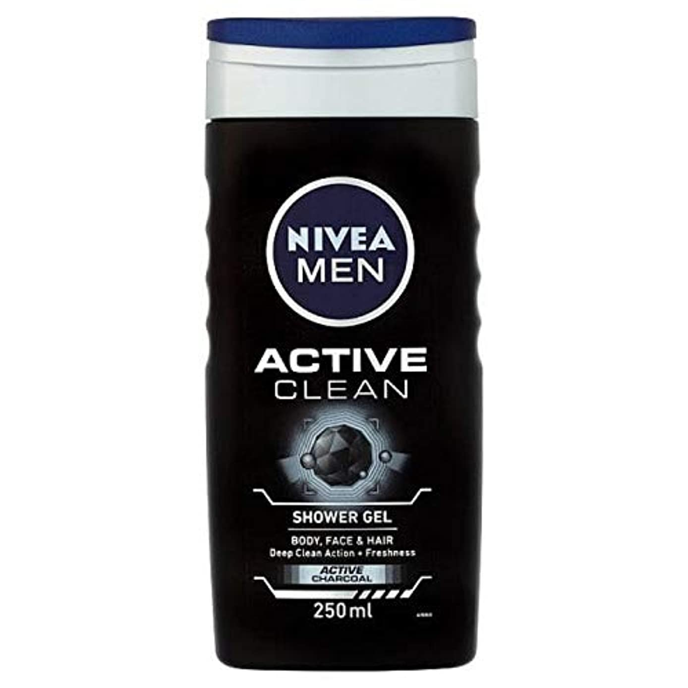 [Nivea ] ニベア男性用シャワージェル、炭との活発なきれいな、250ミリリットル - NIVEA Men Shower Gel, Active Clean with Charcoal, 250ml [並行輸入品]