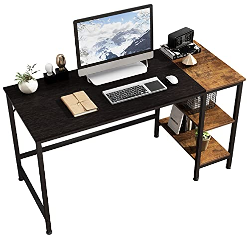 JOISCOPE Home Office Computer Desk, Study Writing Desk with Wooden Storage Shelf, 2-Tier Industrial Morden Laptop Table with Splice Board,55 inches(Black Oak Finish)