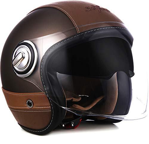 "SOXON® SP-888 Pro ""Urban Bronze"" · Jet-Helm · Motorrad-Helm Roller-Helm Scooter-Helm Moped Mofa-Helm Chopper · ECE 22.05 Sonnenvisier Leather-Design Schnellverschluss SlimShell Tasche M (57-58cm)"