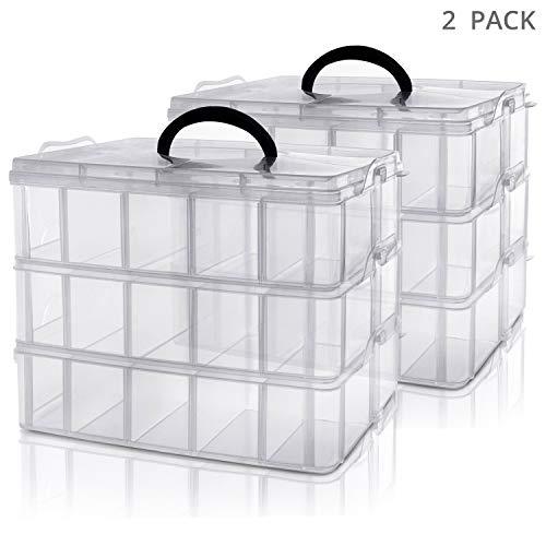 Kurtzy 3-stöckige Aufbewahrungsbox Plastik Transparent Stapelbar (2-er Pack) - Sortierkasten bis 30 Verstellbare Fächer zur Aufbewahrung von Nähzubehör, Bügelperlen, Schmuck, Kleinteile, Bastelkiste