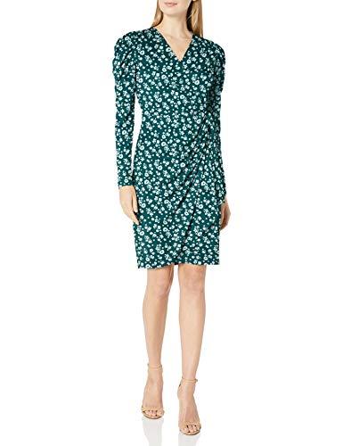 Amazon Brand - Lark & Ro Women's Long Balloon Sleeve Wrap Dress, Dark Green/Mint Scattered Floral, XL