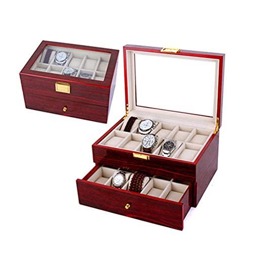 Caja de 24 rejillas para relojes con tapa, 2 capas para hombres Caja de relojes con almohadas extraíbles y tapa de vidrio para hombres, mujeres, colección de joyas, madera, rojo