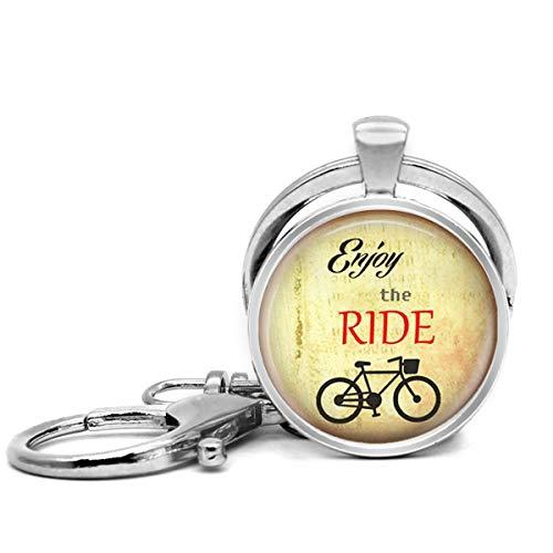 Llavero de acero inoxidable con llavero, ligero y decorativo, ideal como regalo para hombres y mujeres, azulejos, refranes inspiradores de azulejos, joyería de bicicleta