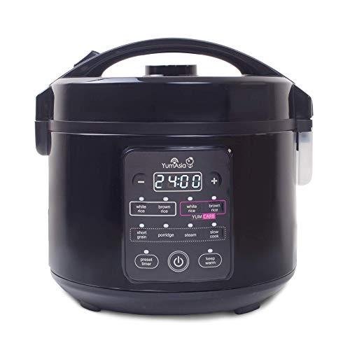 Yum Asia Kumo YumCarb Reiskocher mit Keramikschale und fortschrittlicher Fuzzy-Logik (5,5 Tassen, 1 Liter), 5 Reiskochfunktionen, 3 Multicooker-Funktionen, 220-240V UK/EU (Dunkler Edelstahl)