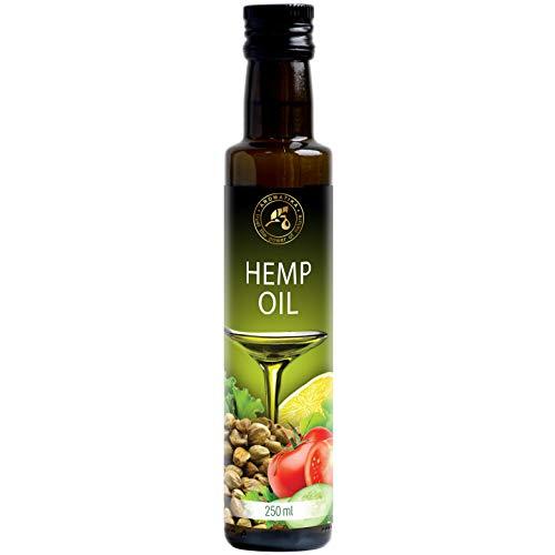 Hanföl 100% Reines Naturreines Kaltgepresst Hanfsamen Öl - 250ml Glasflasche - Hanf Öl - Cannabis Sativa Seed Oil - Hanfsamenöl