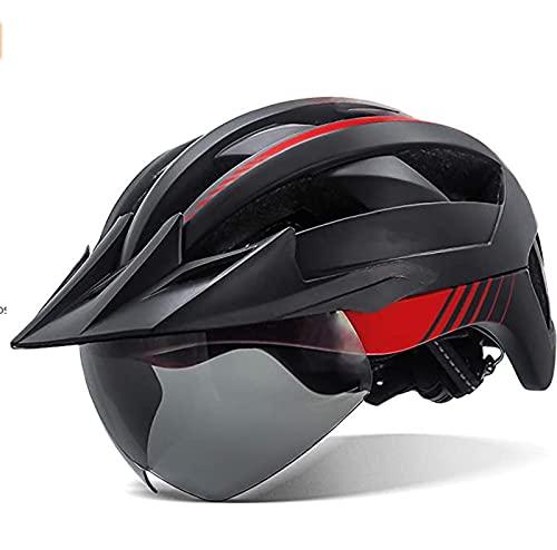Casco de Bicicleta con luz LED Recargable por USB, Gafas magnéticas extraíbles, Visera, Casco de Bicicleta de montaña Transpirable para Unisex, Hombres, Mujeres, Cascos de Ciclismo Ajustables