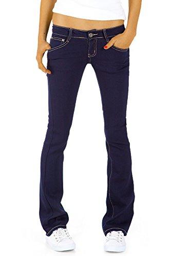 bestyledberlin Damen Hüftjeans Jeanshosen, Bootcutjeans – Stretchjeans gerades Bein j43kw 36/S