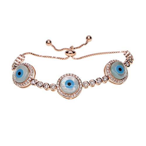 Pulsera de tenis de ojo malvado turco con cadena de eslabones de tenis Cz de piedra de nácar de color oro rosa