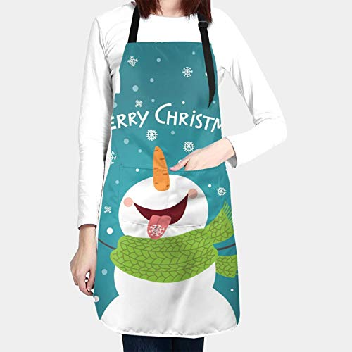 N/W Merry Christmas Funny Snowman Enjoying The Snowflakes Kitchen Aprons for Women Men Plus Size with 2 Pockets Waterproof Adjustable Neck Strap for Thanksgiving,Christmas,Cooking,Baking & Painting