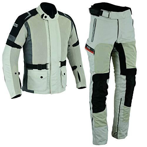 Motorradkombi Jacke + Hose - TEXTIL für Motorrad Biker -Silber Grau (M)