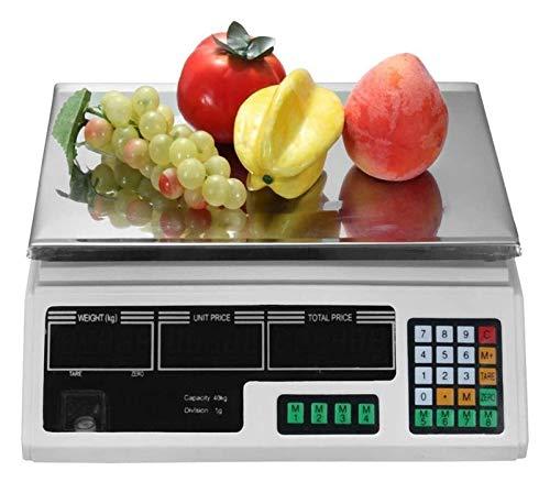 ZBYL Edelstahl Elektronische Waage Preisrechnende Waage Lebensmittel Wiegen Digital mit LCD-HD-Anzeige for Gemüse Fisch Supermarkt 926 (Color : B, Size : 30kg/2g)