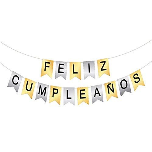Unishop Guirnalda de Banderines de Feliz Cumpleaños Multicolor, Decoración de Fiesta de Cumpleaños Plateado y Dorado