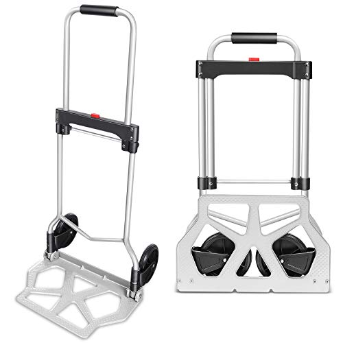 Tinfancy Hand Truck with Wheels Portable Heavy Duty Aluminum Collapsible Luggage Cart for Industrial Cargo Handling and Office Use (220lb)