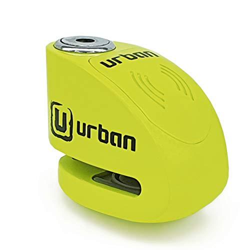 URBAN UR906X Candado Antirrobo Disco Alarma 120 db, 6mm Universal, Moto Scooter Bici eléctrica Patinete, Impermeable, Amarillo Flúor