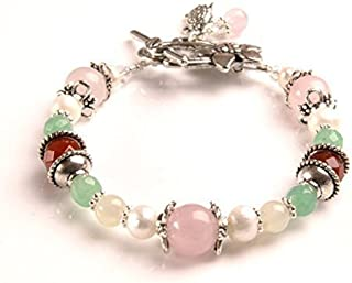 Juno Fertility and Pregnancy Bracelet featuring Natural Gemstones Rose Quartz, Moonstone, Green Aventurine, Carnelian and Freshwater Pearls/Holistic Jewelry/Crystal Healing
