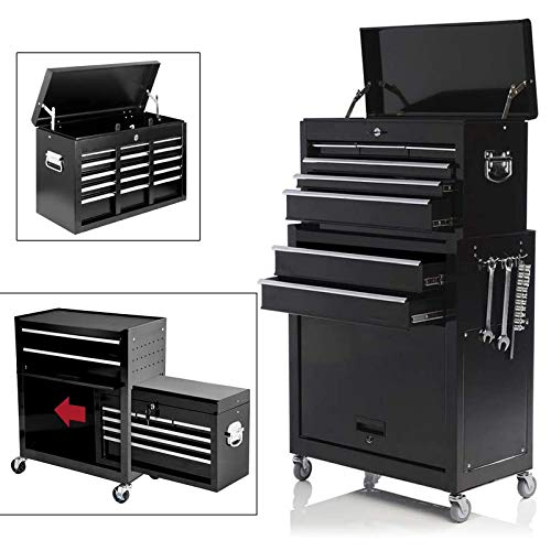 8 Drawer Rolling Tool Chest for Storage Hardware High Capacity Tools Cart with Sliding Drawers and Locking System Tool, Removable Toolbox,4 Swivel Casters and 2 Brake (Black)