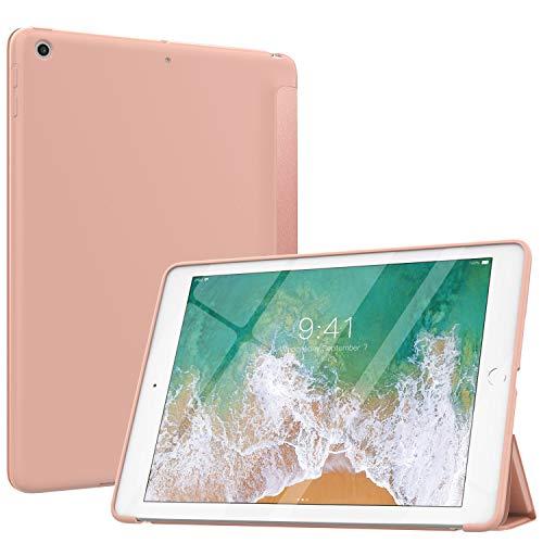 MoKo Hülle Kompatibel mit iPad 9.7 5th/6th Generation, Dünn, leichtes Cover mit Auto Schlaf/Wach Funktion, Translucent Matte Rückseite für iPad 9.7 Inch 2018/2017 - Rose Gold