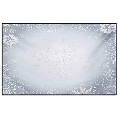 Ombre entryway Rugs Indoor Small Rug Christmas Theme Gentle Frame with Curls Swirls Snowflakes Lace Inspired Motif for Living Room Bedroom Bathroom Kitchen Laundry Dorm Pale Blue Coconut 3 x 5 Ft