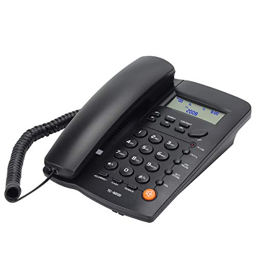 Uvital Desktop Corded Telephone, DTMF/FSK Mode, LCD Display, Calls Memory, Basic Calculator, Special Ring for VIP Numbers, M1,M2 One Touch Memory, in Use LED Indication, Last Number Redial