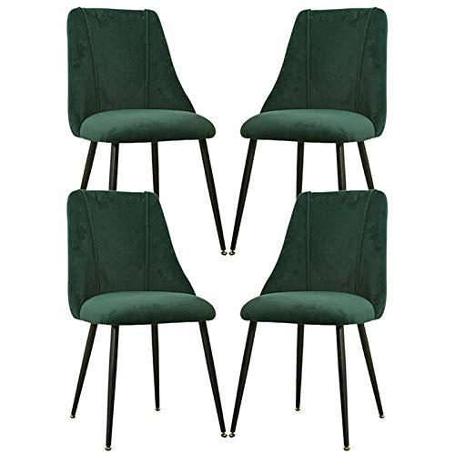 LLLD 4 Sillas Comedor Sillas Nórdicas Modelo Vintage Tapizadas En Tela Franela con Patas De Metal Negro para Salón Sala De Estar Cocina Oficina (Color : Green)
