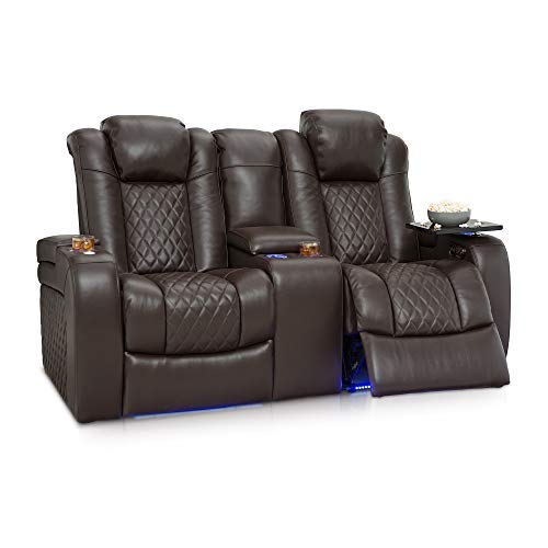 Seatcraft Anthem Home Theater Seating - Top Grain Leather - Power Recline - Powered Headrests - in-Arm Storage - USB - Ambient Base Lighting and Cupholders (Loveseat with Storage Console, Brown)